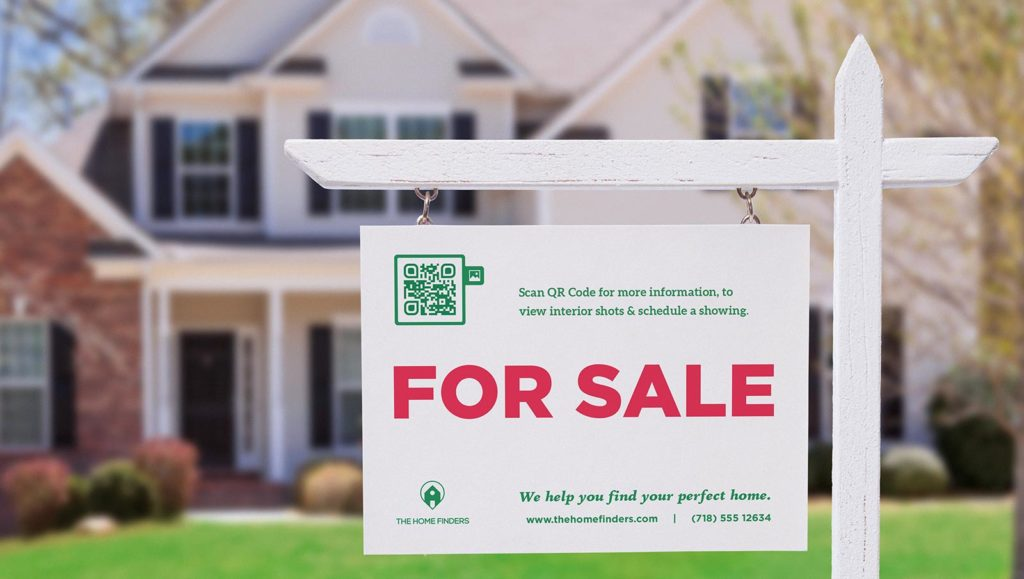 An Image Gallery QR Code on a for-sale property sign to generate showing appointments