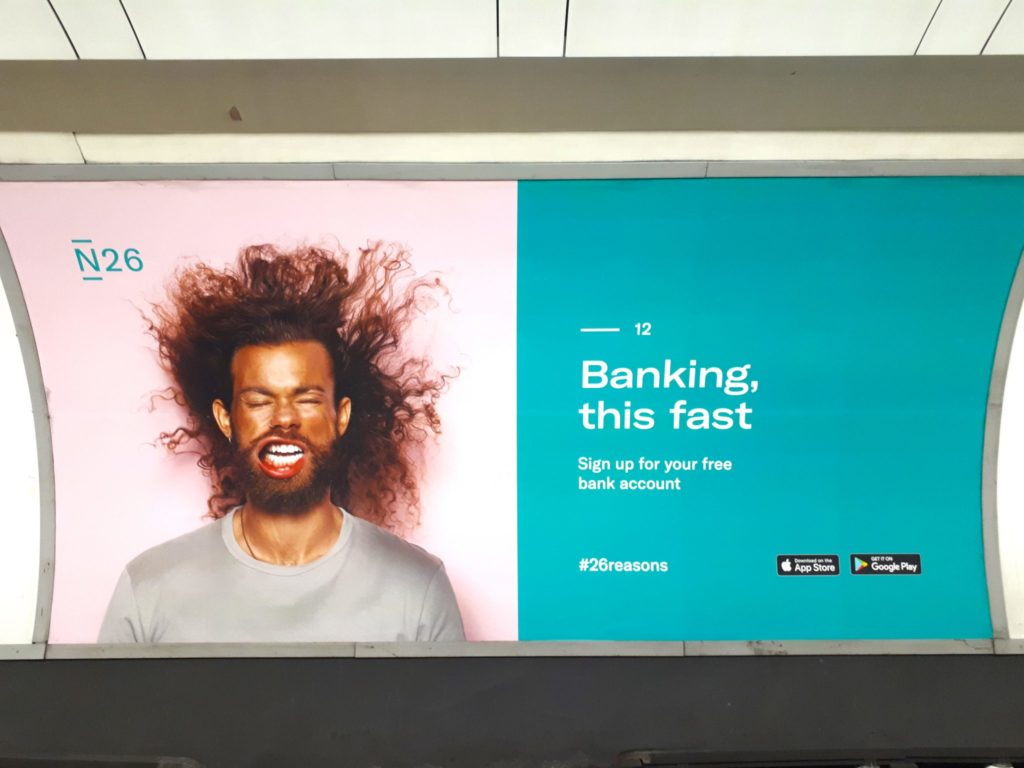 One example of N26's print ad campaign in a metro station