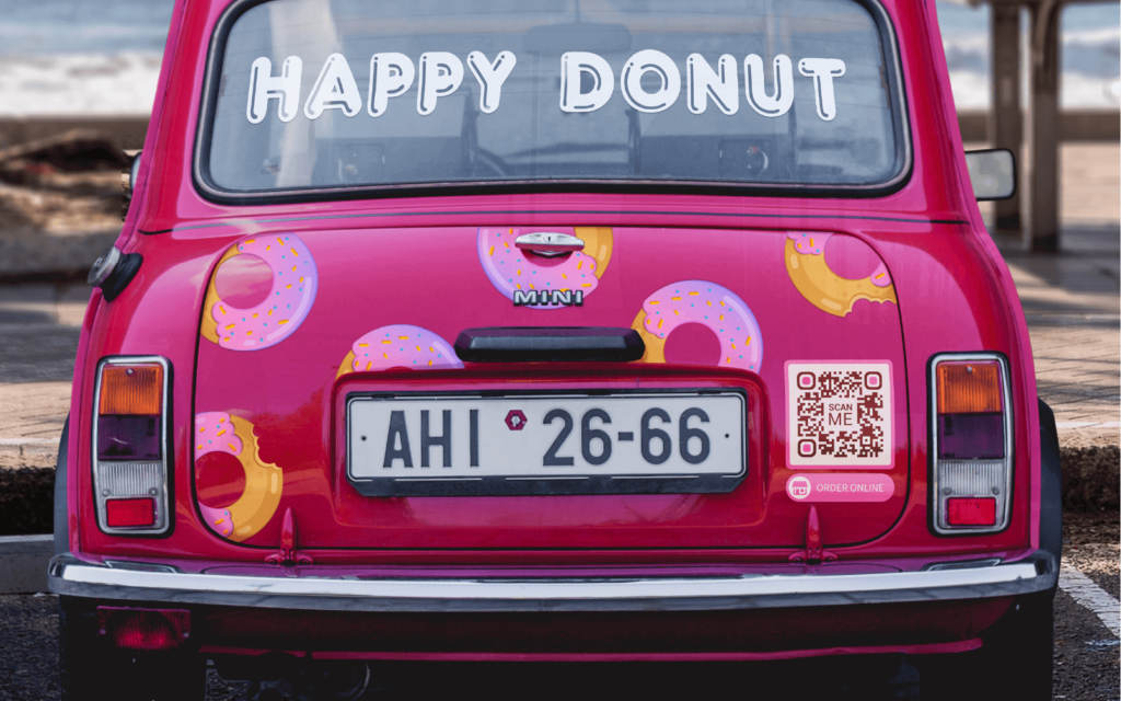 A company car is an ideal space to use a QR Code to advertise an online booking platform