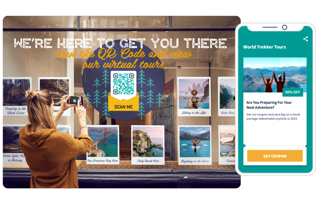A travel agency promotes virtual tours to encourage users to download coupons by scanning a QR Code