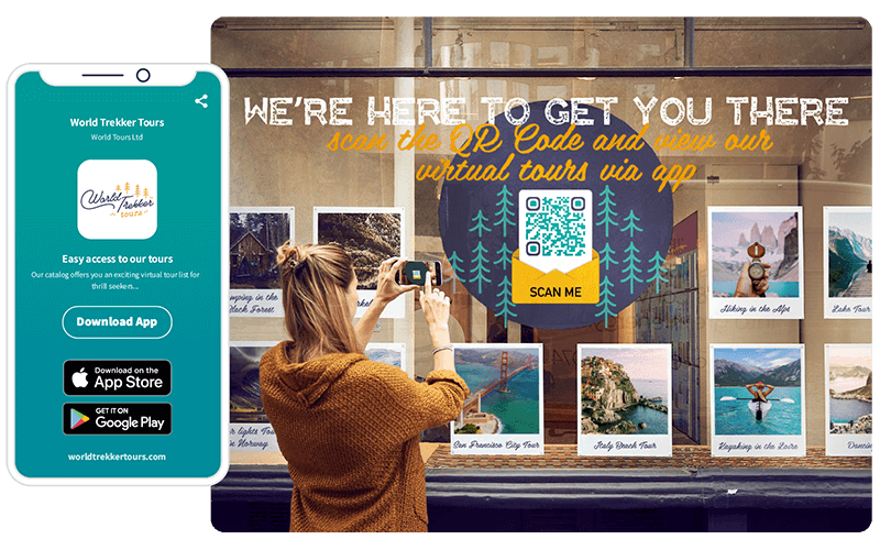 A QR Code provides no-touch access to a virtual tour app