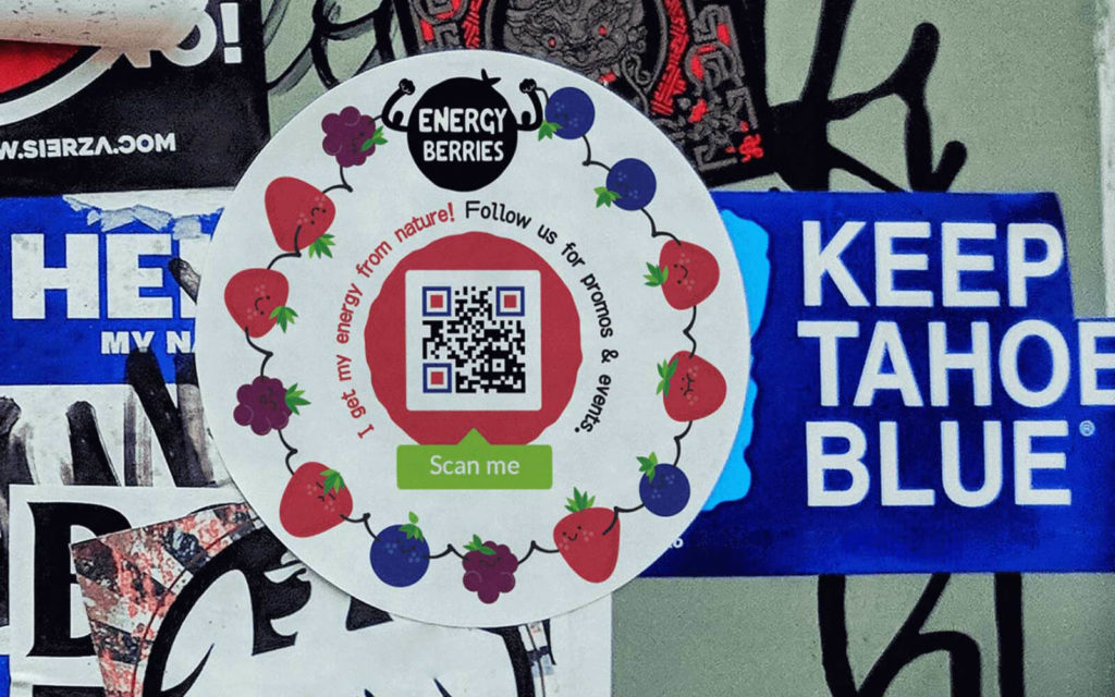 A QR Code example on a sticker