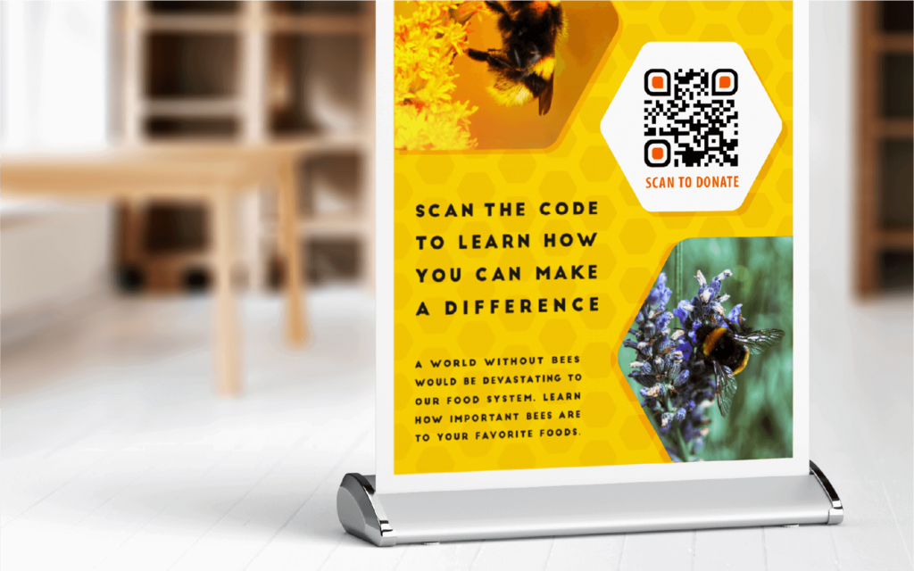 A QR Code on a poster enables easy mobile donations for charitable causes