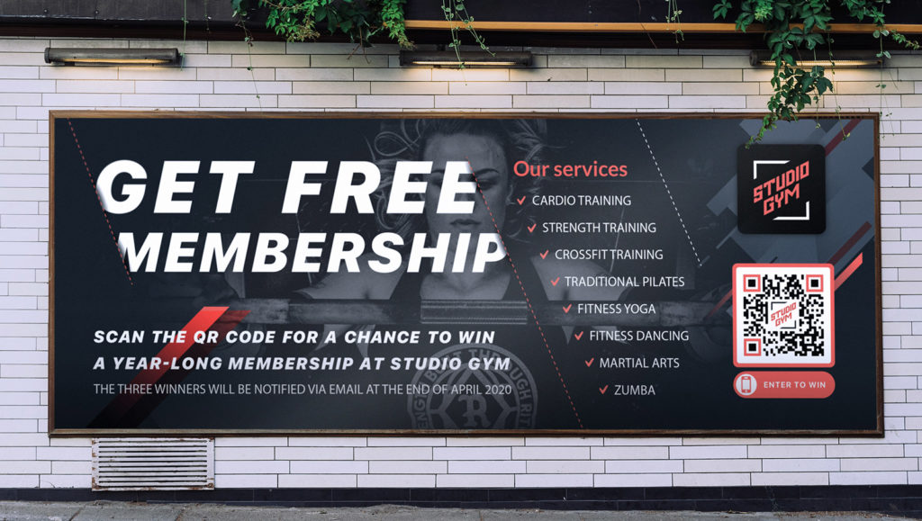 An example of a billboard ad with a QR Code promoting a giveaway contest for a gym subscription