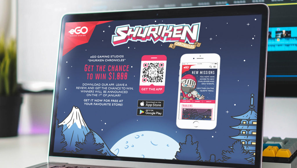 An example of a QR Code on a landing page to promote an app-related giveaway contest
