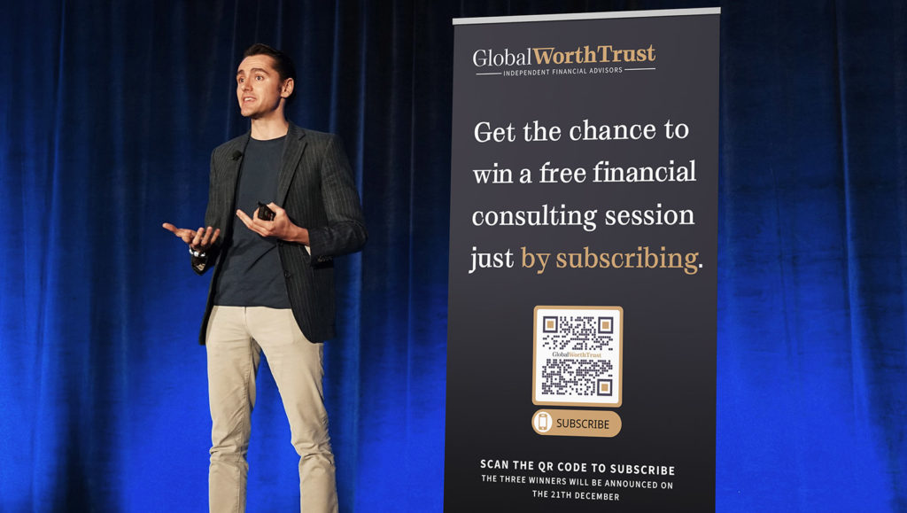 An example of a QR Code promoting a giveaway contest to build email subscribers for a financial consultant