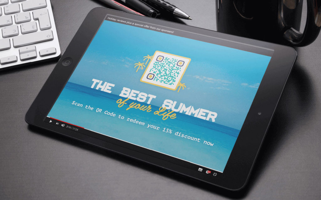 Example of a QR Code on a video ad