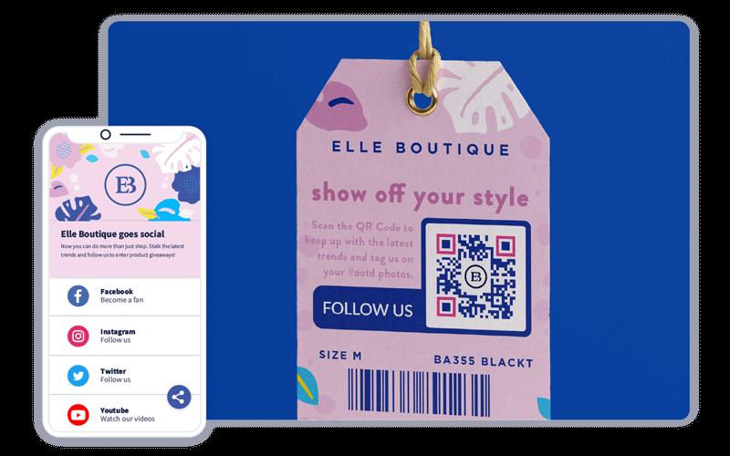 A custom QR Code on a label that promotes social media links