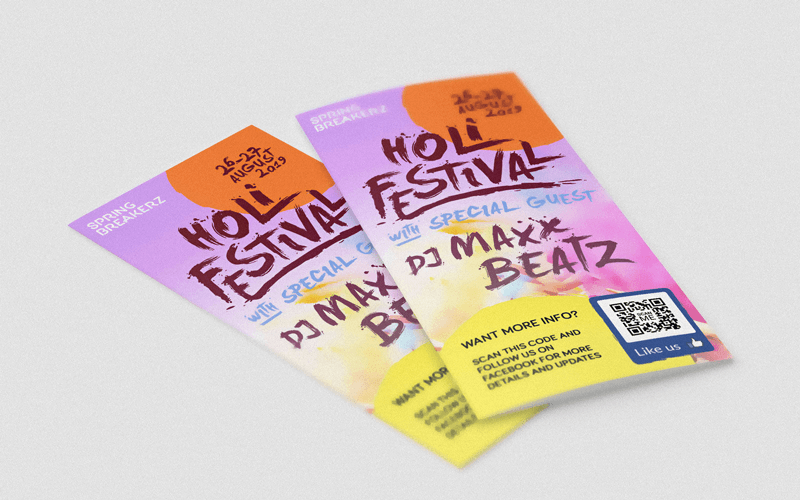 A Facebook QR Code on a brochure encourages likes and promotes a concert