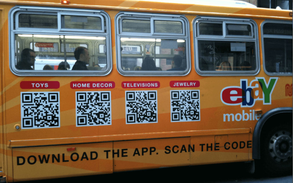 A QR Code on a public bus connects users from offline to online