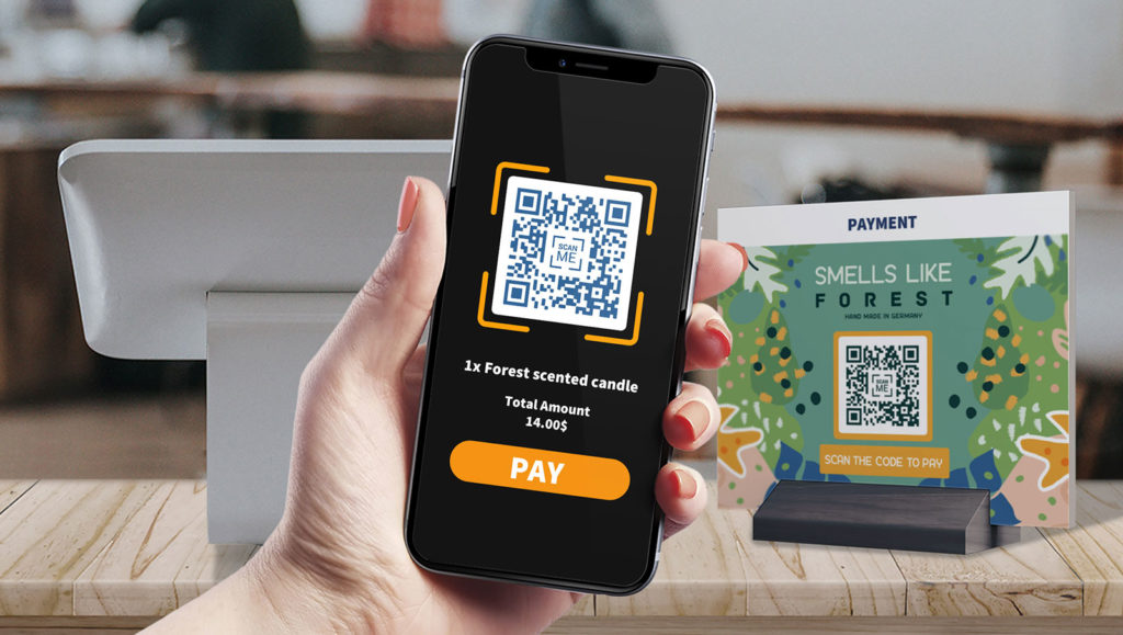 A user making a bitcoin payment via mobile by scanning a merchant's QR Code