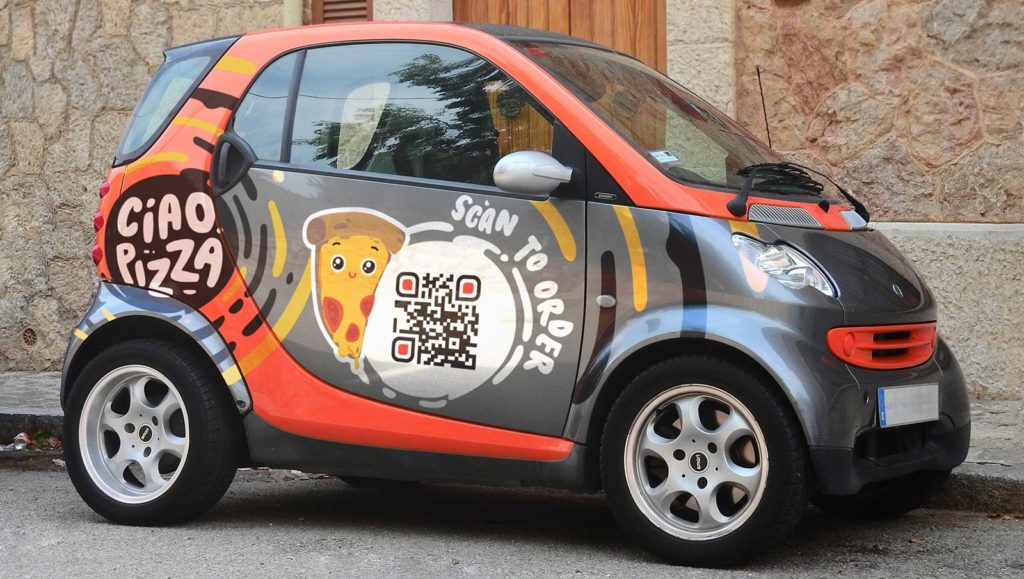 QR Code on a vehicle to promote restaurant menu