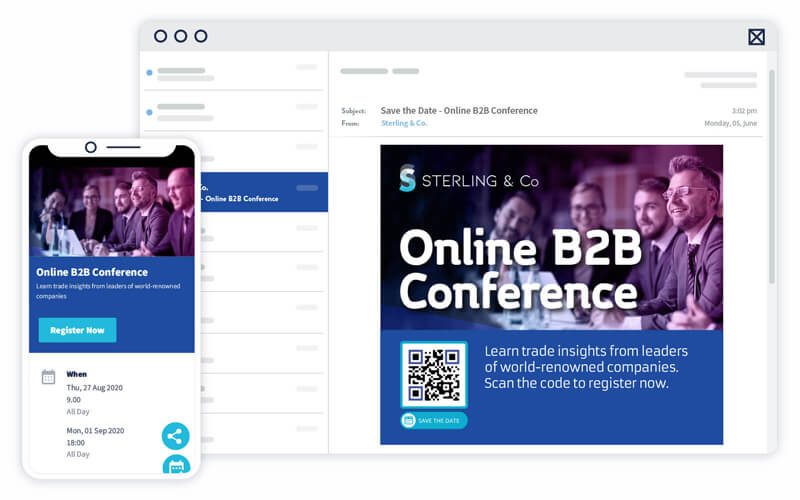 An Event QR Code used in email marketing to increase conference attendance