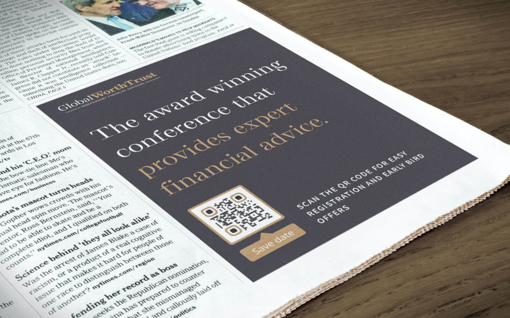A print newspaper ad promotes a conference and easy registration with an Event QR Code