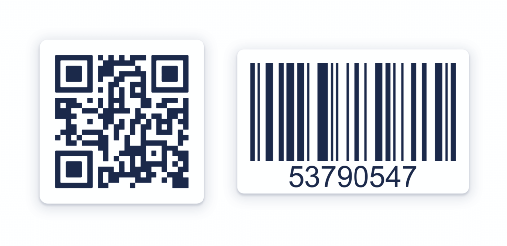 The difference between a QR Code (left) and a Barcode (right)