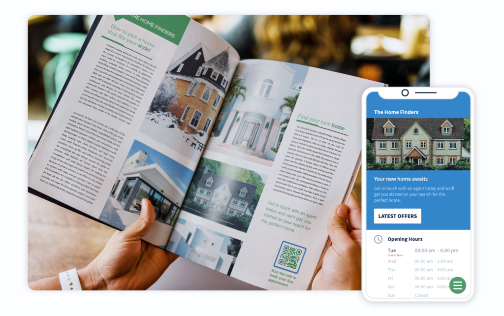 A real estate agency promotes property bookings with a QR Code in a magazine ad