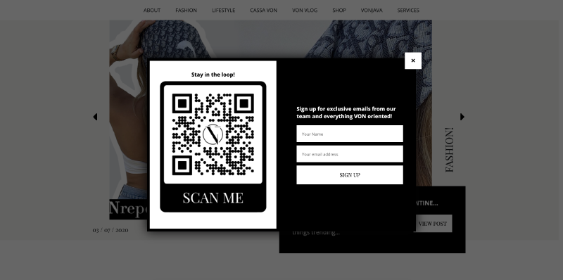 Social Media QR Code is being used alongside an exit intent pop-up