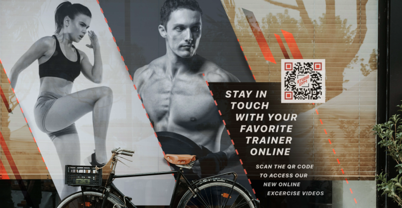 A gym uses a QR Code on their window so customers can access online exercise videos