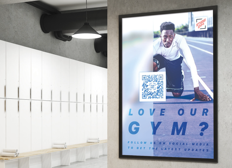 A Social Media QR Code on a gym poster conveniently connects people with social media profiles