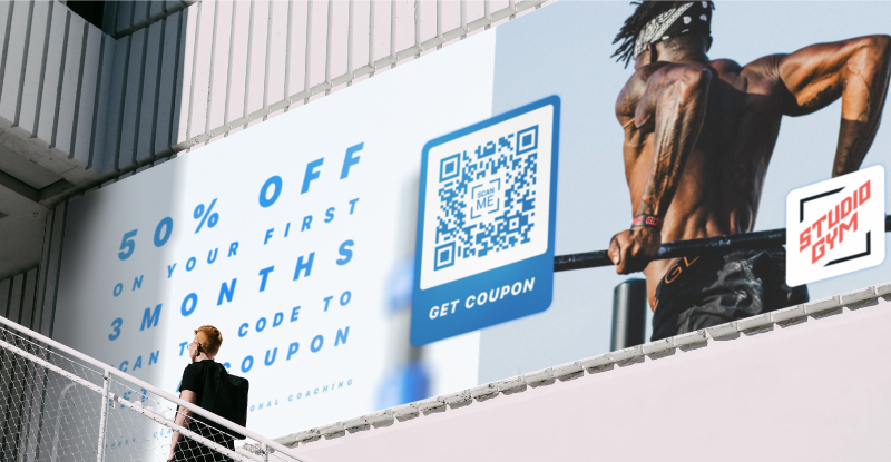 A QR Code on a billboard ad promotes digital coupons