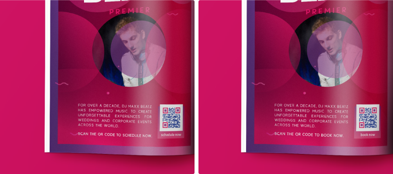 A QR Code campaign A/B test that compares two different calls to action on a magazine ad