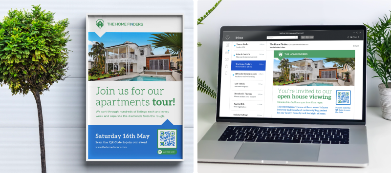 A QR Code on a real estate poster and on email for retargeting
