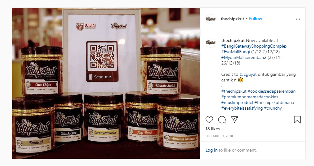 QR Code on product display from The Chipzkut on Instagram