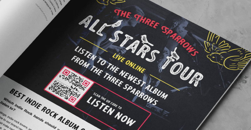 Magazine ad promoting a new song with a QR Code
