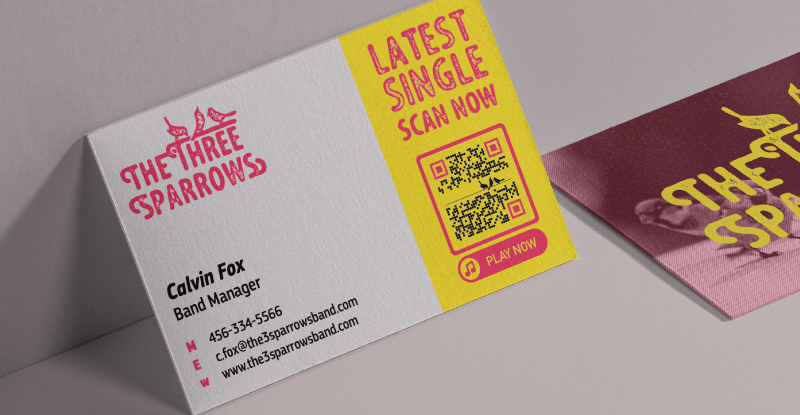 Band manager business card using QR Code to promote band music