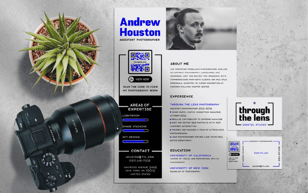A PDF QR Code on a photographer's resume and business card leading to his portfolio.