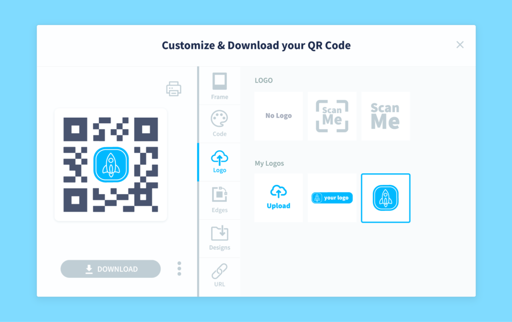 Demo of QR Code Generator's customization software page