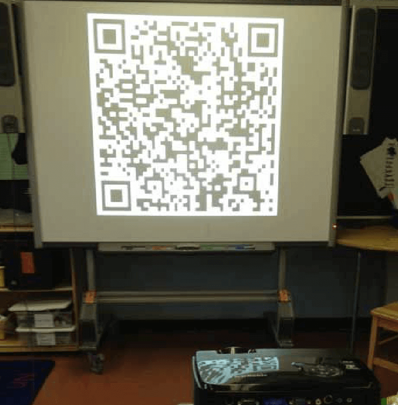 Projection of a QR Code in a classroom.
