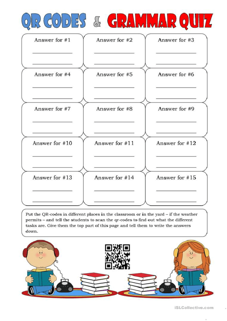 A classroom quiz worksheet with a QR Code linking to answer keys.