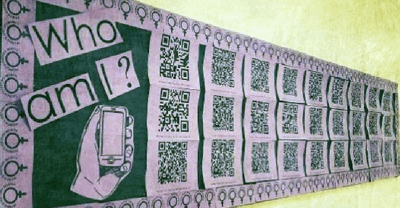 A bulleting board of QR Codes introducing people