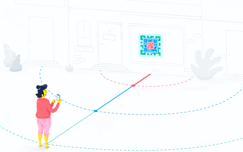 Depiction of a woman scanning a large QR Code from a distance.
