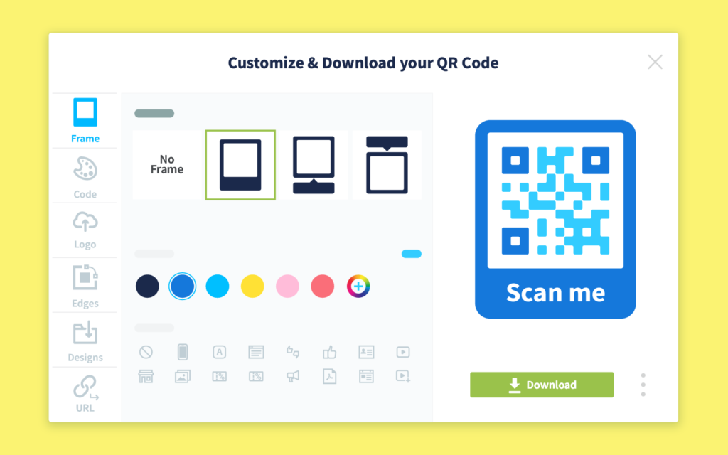 Example of the QR Code frame selection and customization area in QR Code Genrator Pro.