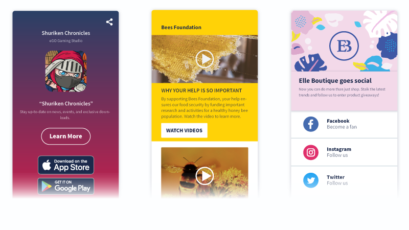 App store, Video, and Social QR Code landing page examples.