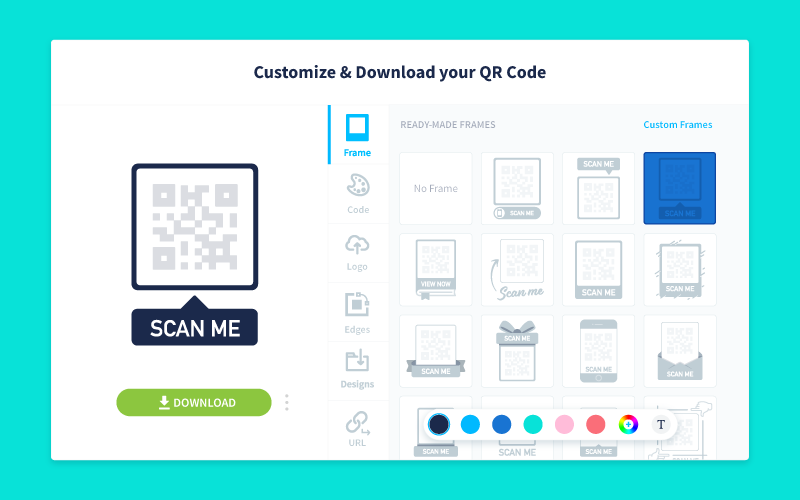 Customization screen and options available with QR Code Generator Pro.