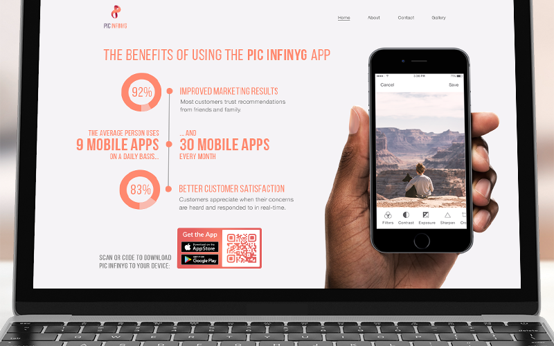 An App QR Code on a landing page with an infographic