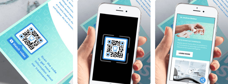 The process of scanning a QR Code on a dentist's brochure and viewing its contents within seconds