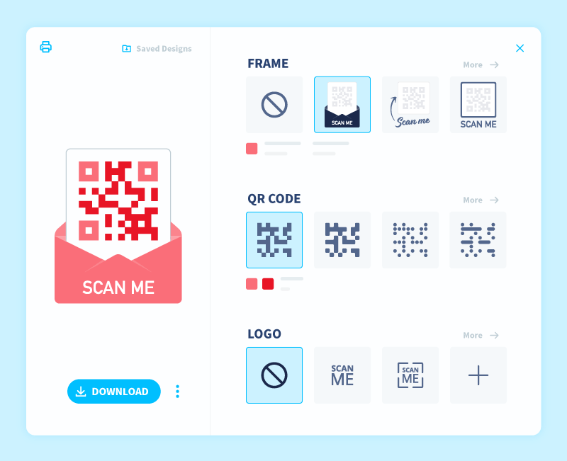 QR Code customization panel in a QR Code Generator account