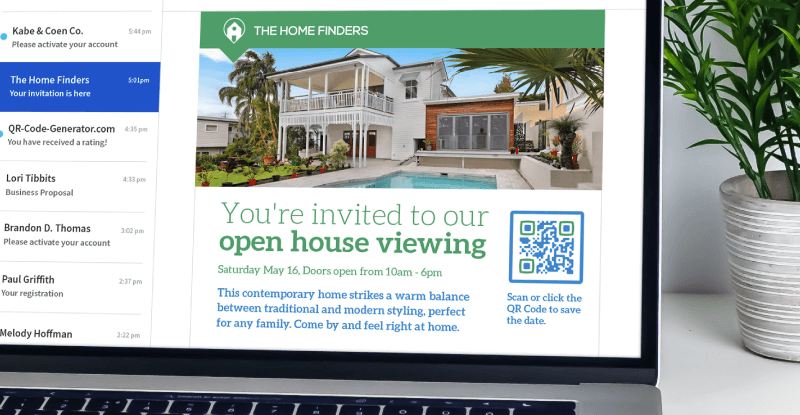 QR Code in an email marketing campaign prompting the reader to scan or click the Code to save the date for an open house viewing