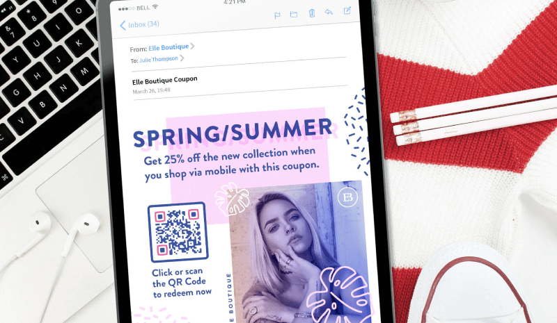 QR Code in a boutique email marketing campaign prompting recipients to scan or click the Code to redeem a 25% off coupon