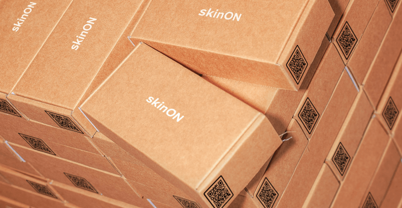 QR Codes on skinON product packaging