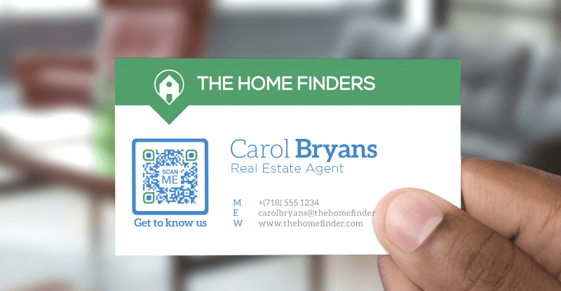 QR Code on a real estate agent's business card prompting people to scan and get to know the company