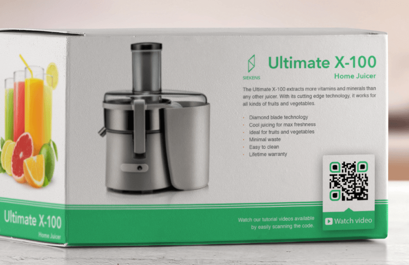 QR Coe on a home juicer product package prompting the buyer to scan and watch the product tutorial