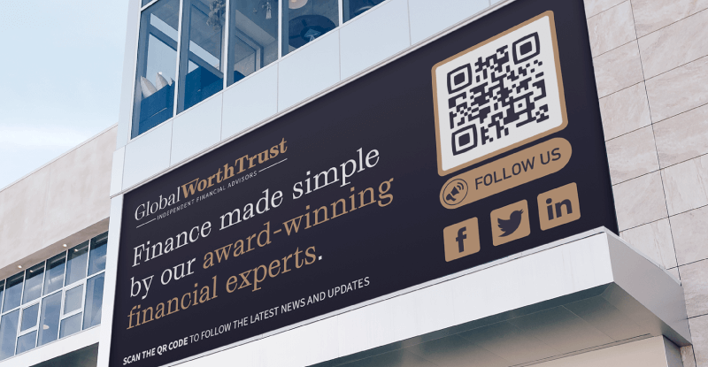 QR Code on a financial company's billboard ad prompting people to scan and follow their social media