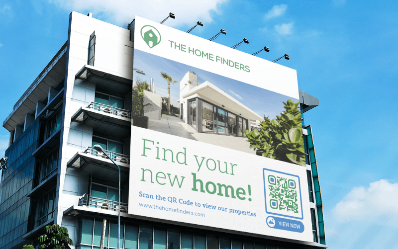 Image Gallery QR Code on a real estate agency's billboard ad prompting people to scan and view their properties