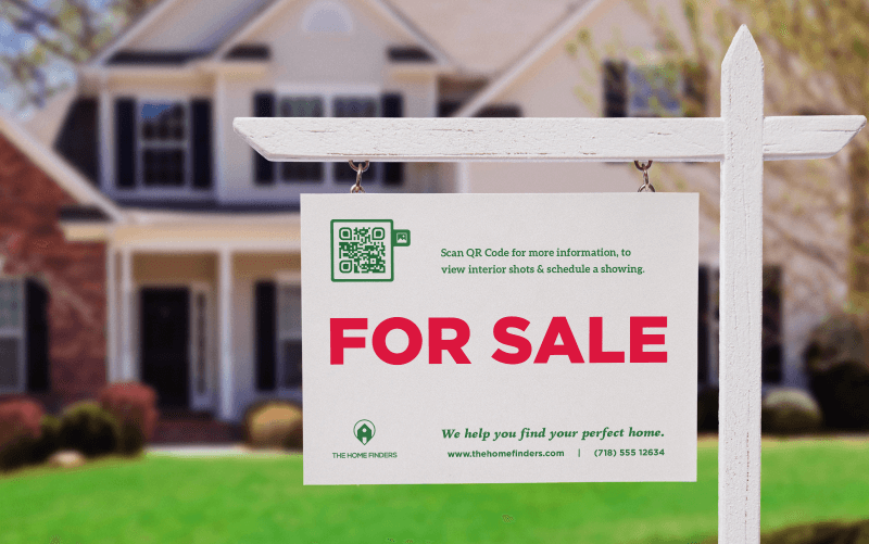 Image Gallery QR Code on a for-sale sign prompting visitors to scan for more information, view the interior of the the home, and schedule a showing