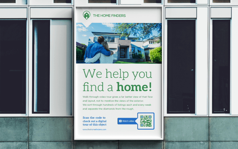 Video QR Code on a poster ad prompting people to scan and watch a digital tour of a home